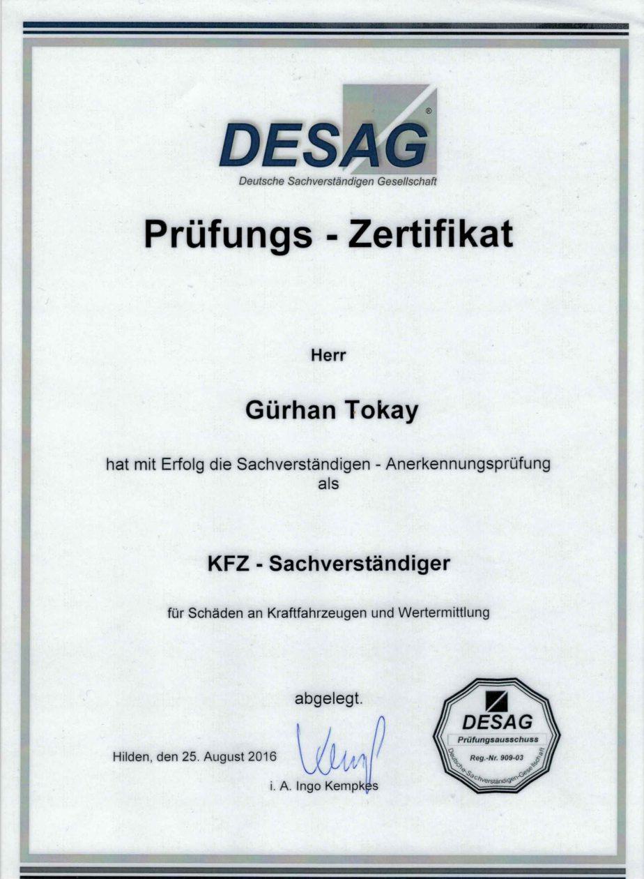 GT Prüfungszertifikat
